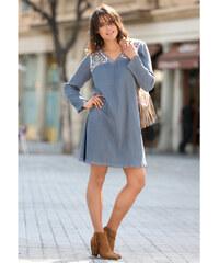 Venca Šaty s výšivkou a efektem pomačkání modrošedá