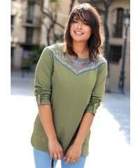 Venca Tričko s potiskem výšivky zelená