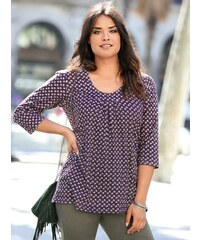Venca Rozšířené tričko s potiskem a nařasením fialová