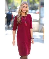 Venca Jednobarevné šaty z úpletu Milano vínová