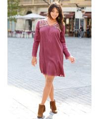 Venca Šaty s výšivkou a efektem pomačkání starorůžová