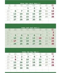 Helma 365, s.r.o. Nástěnný kalendář Tříměsíční zelený s jmenným kalendáriem 2017 N206-17