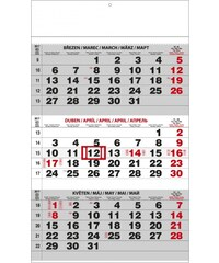 Baloušek, s.r.o. Nástěnný kalendář A3 - Tříměsíční - s mez.svátky - černý 2017 BNC0-17