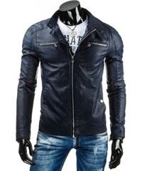 Pánská kožená bunda - Jerremy, modré