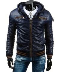 Pánská kožená bunda - Simon, modrá