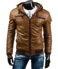 Pánská kožená bunda - Simon, karamelová