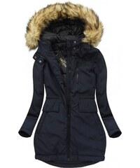Libland Zimní dlouhá bunda s kapucí modrá(7680)