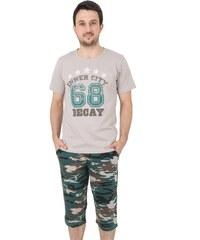 Bavlněné pánské pyžamo Army XL