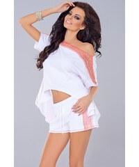 Dámské kalhoty Axami VU-0052, M bílá - korálová