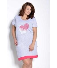 335f6acb5232 Taro Dámska nočná košeľa Viva šedá so srdcom nadmerná veľkosť 4XL