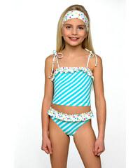 Plavky dívčí Adélka tyrkysovo bílé 110