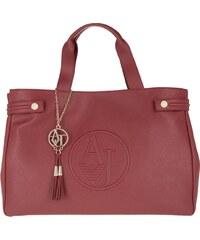 Armani Jeans Sacs à Bandoulière, PVC Shopping Bag Saffiano Bordeaux en rouge