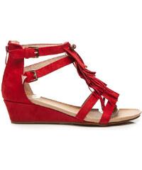GOODIN Stylové červené semišové sandály se střapci 41