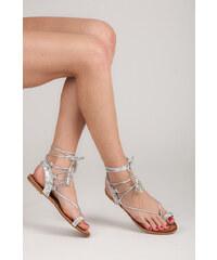 VICES Dámské stříbrné vázané sandálky jako žabky 41