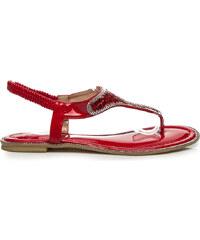 SEASTAR Luxusní červené sandály s tenkými pásky a třpytivé kamínky 36
