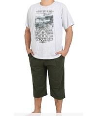 Pánské pyžamo kapri Western šedá/khaki 1XL
