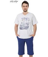 Pánské pyžamo kapri Jakub světle šedá 3XL