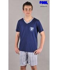 Pánské pyžamo šortky Dominik tmavě modrá/vínová M