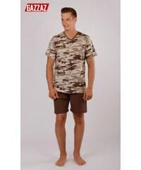 Pánské pyžamo šortky Army hnědá M