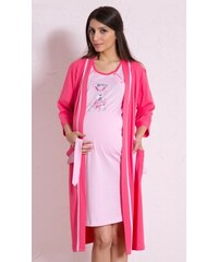 Dámský župan s mateřskou košilí Králík růžová L