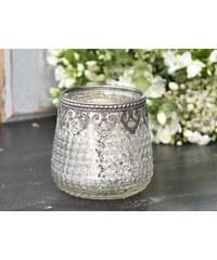 Chic Antique Skleněný svícen s kovovým okrajem Silver