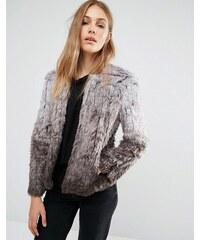 QED London - Manteau dégradé en fausse fourrure - Gris
