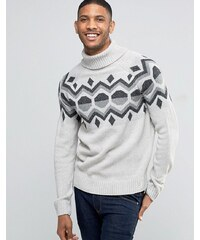 Bellfield Christmas Jacquard Geometric Knitted Jumper - Grau