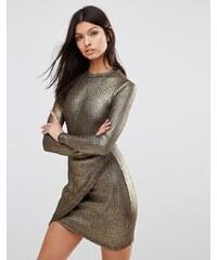 Club L - Asymmetrisch geschnittenes Kleid mit langen Ärmeln aus metallischem Rippstrick - Gold