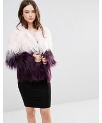 Barney's Originals - Manteau fausse fourrure effet dégradé - Rose