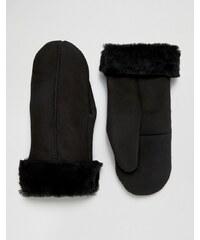 Dents - Inverness - Moufles en daim et peau de mouton - Noir - Noir