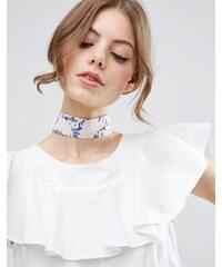 ASOS - Large collier ras du cou à imprimé floral - Multi