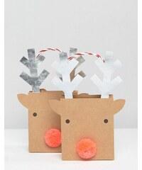 Meri Meri - Petites pochettes cadeaux motif rennes - Multi