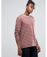 ASOS - T-shirt rayé à manches longues - Rouge