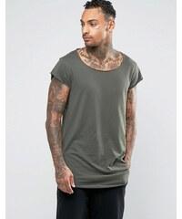 ASOS - T-shirt super long avec mancherons et ourlet arrondi - Vert - Vert