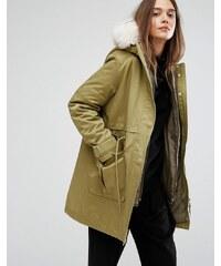 Parka London - Kay - Parka avec bomber amovible et capuche bordée de fausse fourrure - Vert