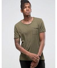 Selected Homme - T-shirt long à bords bruts - Vert