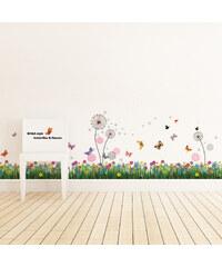 Walplus Samolepky na zeď Barevná tráva/Růžové pampelišky, 175x70 cm