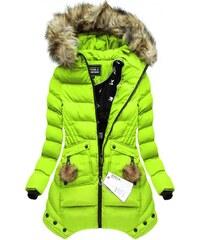 SPEED.A Zimní prošívaná bunda s kapucí citrónová (W810)