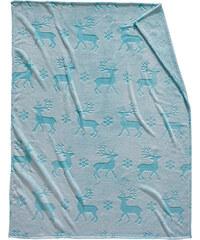 bpc living Kuscheldecke Deer in blau von bonprix