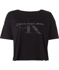 Calvin Klein Jeans Crop-Shirt mit gummiertem Logo-Print