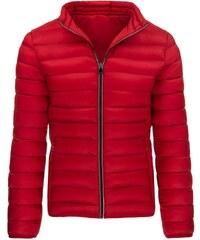 Módní prošívaná červená bunda s bílými detaily