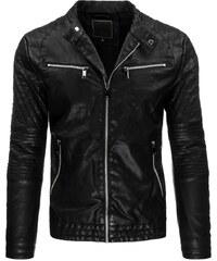 Černá kožená bunda s prošíváním a kovovými zipy