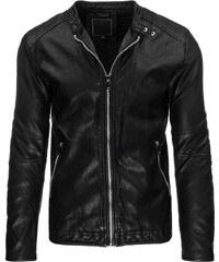 Elegantní černá bunda z ekologické kůže