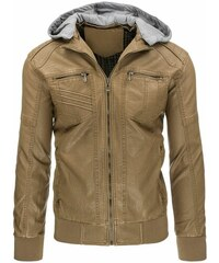 Pánská stylově prošívaná béžová bunda z EKO kůže