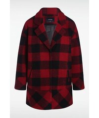 Manteau femme droit à carreaux Rouge Acrylique - Femme Taille L - Bonobo