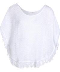 Poncho à franges maille fantaisie Blanc Acrylique - Femme Taille 0 - Cache Cache