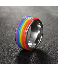 Lesara Edelstahlring im Regenbogendesign - 54