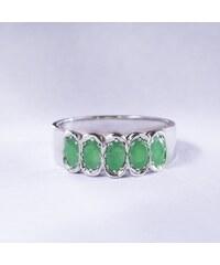 KLENOTA Prsten z bílého zlata se smaragdy