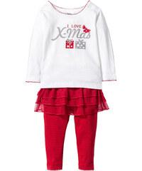 bpc bonprix collection T-shirt bébé manches longues + legging avec tutu (Ens. 2 pces.) coton bio blanc enfant - bonprix