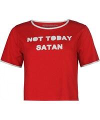 Jilted Generation Jilted Slogan Crop Top Ladies, not today satan